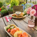On a nice day enjoy lunch outside on the our tearoom patio