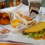 Taco and pulled pork burrito