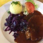 Pork, red cabbage and potato dumpling