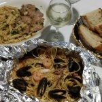 Veal marsala and shrimp/mussels/calamari over pasta - yummy!