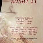 menu cover page for Sushi 21