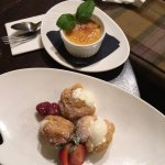 Profiteroles (with no choc sauce) & creme brulee