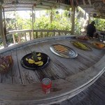 The pre-lunch fruit buffet at Saddleback Cay
