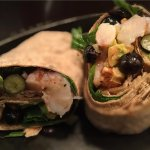 Super Wrap in Harvest Kitchen: shrimp, blueberries, avocado, walnuts, and spinach.