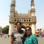 Enjoying photo session in front of Charminar
