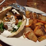Falafel with Tahini Sauce with potatoes, sweet potato and onion = amazing