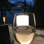 wine with harbor bridge in background