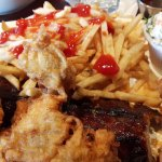 Ribs and Chicken combo, with fries and coleslaw