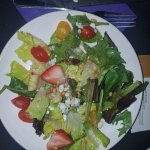 """Tuscan Strawberry Salad"" Mixed greens, fresh strawberries, toasted pine nuts, red onion, tomato"