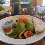 avocado and hummus salad with warm pita