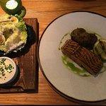 Salmon with caesar salad