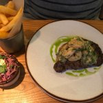 Surf and turf with spicy coleslaw