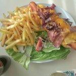 Hotdog cheese bacon and fried onions
