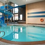 Salt water pool and hot tub with a thrilling waterslide!