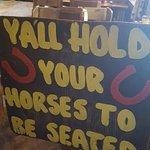 Greeting sign at restaurant