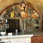 Mural behind bar