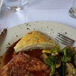 Chicken Cordon Bleu, Potatoes Au Gratin and Sauteed Veg.