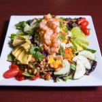 Our Mango Shrimp Salad, almost too pretty to eat, almost.