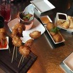 Prawn Lollipops, Chicken wings, Crab Bon Bons, Duck spring rolls