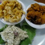 Chicken salad, sweet potato casserole & mac n' cheese.