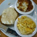 Country fried steak, squash casserole & mashed potatoes.