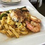 Shrimp with linguini