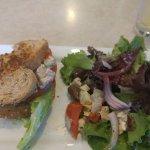 Chicken, walnut on a grain bread with Greek salad