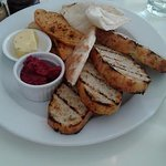 Selection of Breads with Beetroot dip and Garlic Butter