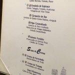 Variada carta del restaurante italiano.