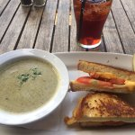 Spinach Mushroom Soup and Grilled Cheese