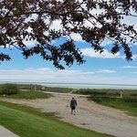 Right outside our villa door--Lake Michigan walkway and beach.