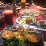 Wonderful garden salad,Jamaican breakfast,fresh fruit juice.