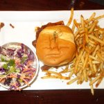 BBQ sandwich, fries, and slaw