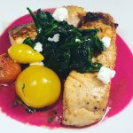 Salmon with beet gazpacho, confit tomato, spinach, and goat cheese!