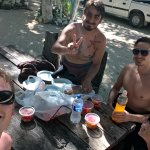 """Lunch in between the dives Issac and the group of three """"cenote rookies"""""""