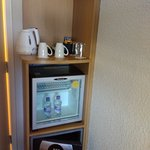 Coffee service and a small fridge. Water is 2.50£ each.