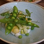 Goat's Curd,courgette & Garden Spring Peas