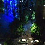 Night view from my ninth floor Executive Suite: the Sony Center.