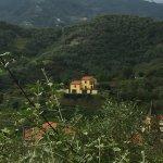 Villages dot the hillsides.