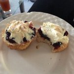 Takeaway scone with cream and jam