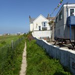 Footpath to Fistral Beach outside our 2 apartments