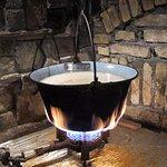 Cauldron with fish stew