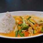 Spicy Mango Curry. Scharf war es aber nicht