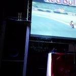 The motorbike racing on the big screen