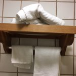 this is how they put clean towels in room Note one towel for 2 people