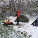 Our campsite after a night of snow.