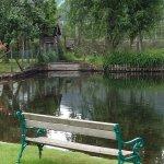 ist das nicht schön, beim Essen auf den Teich zu schauen?