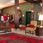 the classic lobby of the Penn-Wells Hotel