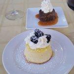 Chocolate bread pudding and lemon cake dessert.