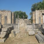 The remains of the workshop of Phidias, that was also a church in-between.
